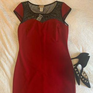 Burgundy cocktail Dress w/ Sheer/Jeweled neckline